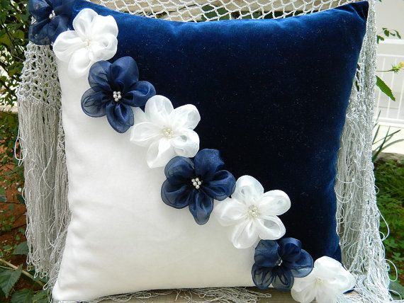 navy blue and ivory flower pillow cover by originalboutique, $29.50