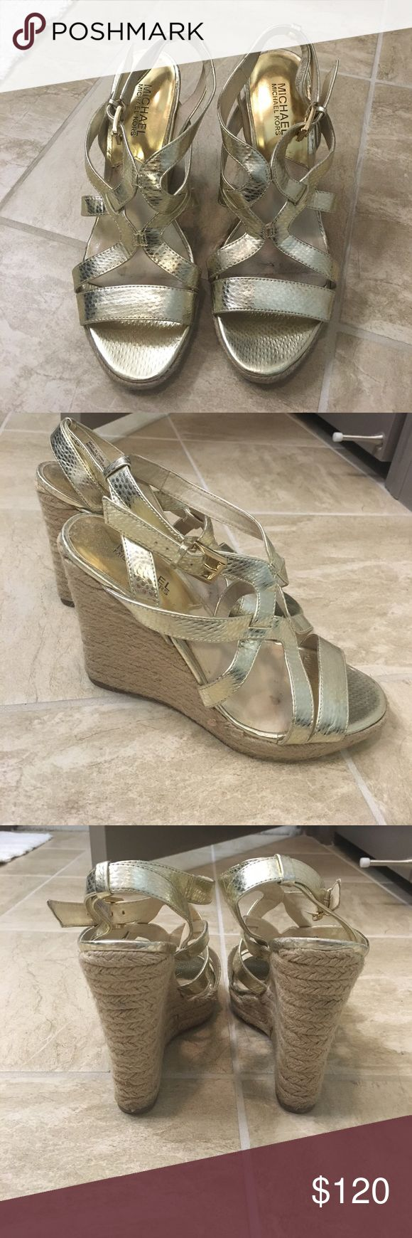 Michael Kors Gold Wedge Sandals Gold wedge sandals perfect for summer! 4 inch heel and very comfortable. MICHAEL Michael Kors Shoes Wedges