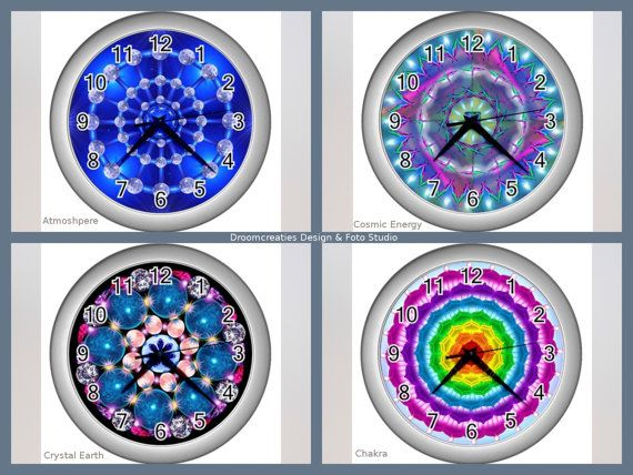 Wall clock mandala design - choose your favorite design: Atmosphere - Cosmic Energy - Crystal Earth - Chakra  This wall clock brings colour in your