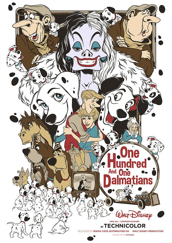 One Hundred And One Dalmatians 1961 583 X 824 Vintage Disney Posters Disney Posters Disney Drawings