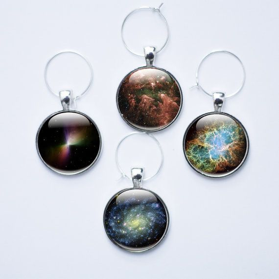 Wine charms  set of 4 Space glass wine charms wine by GlassCharmed, £19.99