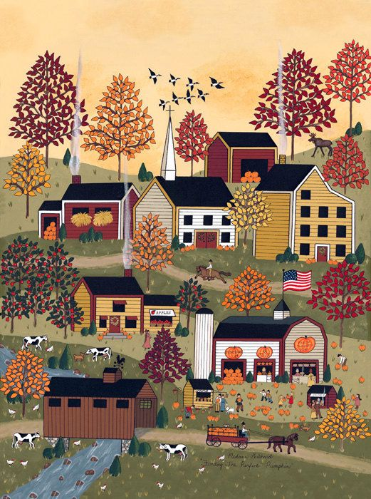"This charming print captures a little seasonal magic: ""Finding The Perfect Pumpkin"". $275.00, via Etsy."