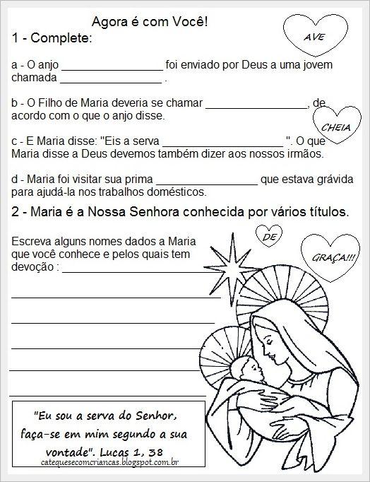 Atividades sobre Maria  Bom Dia!!! Atendendo os pedidos, criei algumas atividades sobre Maria e venho compartilhar com vocês. Variei um pouc...