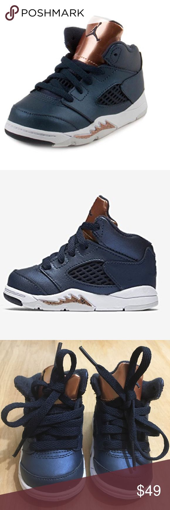 Nike Jordan 5 Retro BT Boys Toddler 2c Olympics NEW  Nike Jordan 5 Retro BT  Boys Toddler 2c  Olympics  Obsidon/White-Gold Leather  440890-416 181216 NO BOX, no defects Jordan Shoes Sneakers