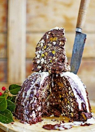 This has got to be incredible :D A calorie bomb! Jamie Oliver popcorn rocky road Christmas pudding