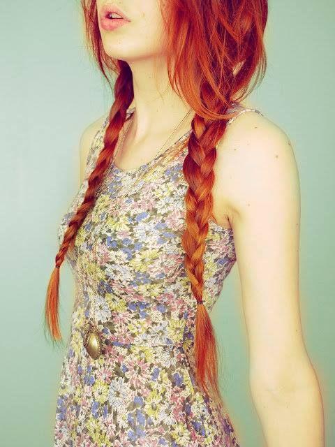 Long red copper braids