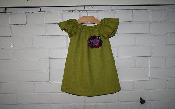 Girl's Apple Green Linen Dress with Handmade Flower Pin - Size 4 yrs. Custom Sizes Available from 12M to 8 yrs on Etsy, $50.31 CAD