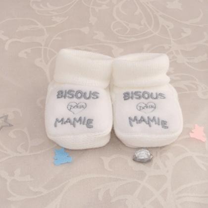 Way 2 Say - Pour une mamie émue, annoncez-lui avec cette paire de chaussons blancs !