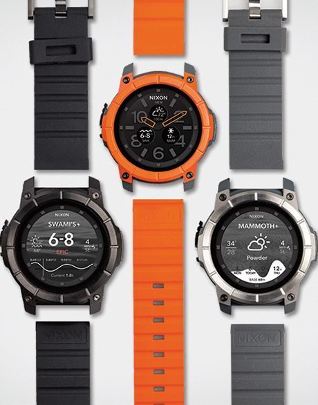 Nixon androidwear watch / TheMission / Spring2016 /100m, polyurethane casing around face, shock resistant, crystal glass, roll cage bezel, touch screen smart watch