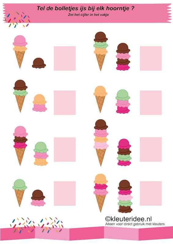 Tel de bolletjes ijs , kleuteridee.nl , rekenen voor kleuters, thema zomer , math summer theme for preschool free printable.