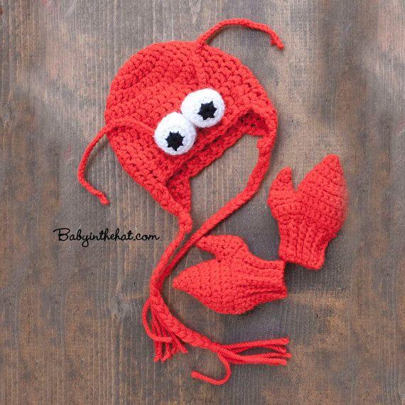 Lobster Hat and Mitten Gloves Newborn Red Crochet Set on Etsy, $28.00