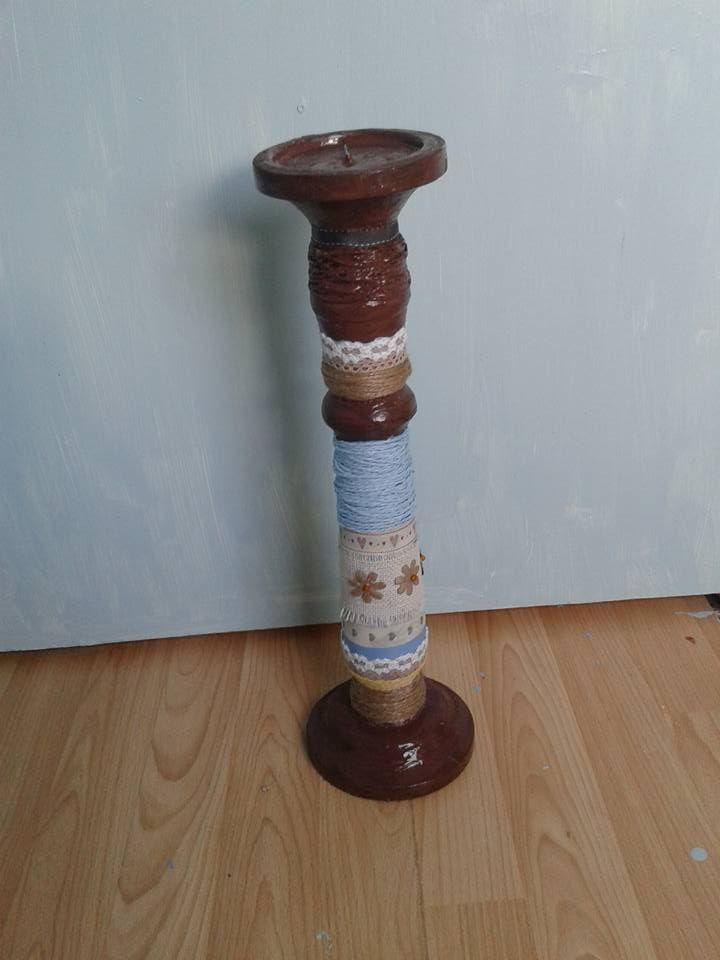 upcycled an old wooden candlestick with acyrilic paint,twine,ribbon,etc