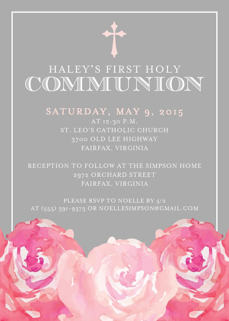 First Communion invitation from http://replybyoccasions.etsy.com. Quick turnaround, afforadable/cheap. Pink, gray, floral, for a girl. Just $10