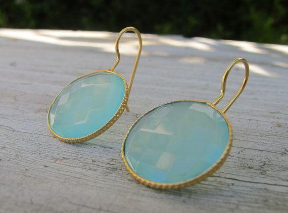 Mint Chalcedony Earrings Aqua Blue Earrings Stone by Belesas