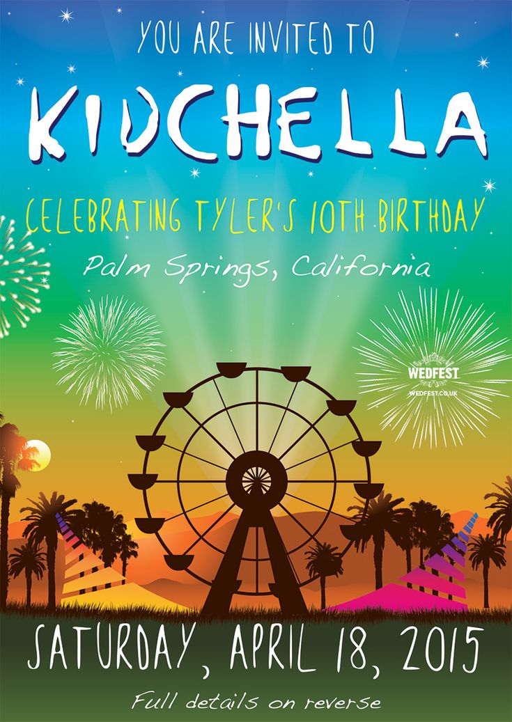 Kidchella Birthday Party Invitation Http Www Wedfest Co