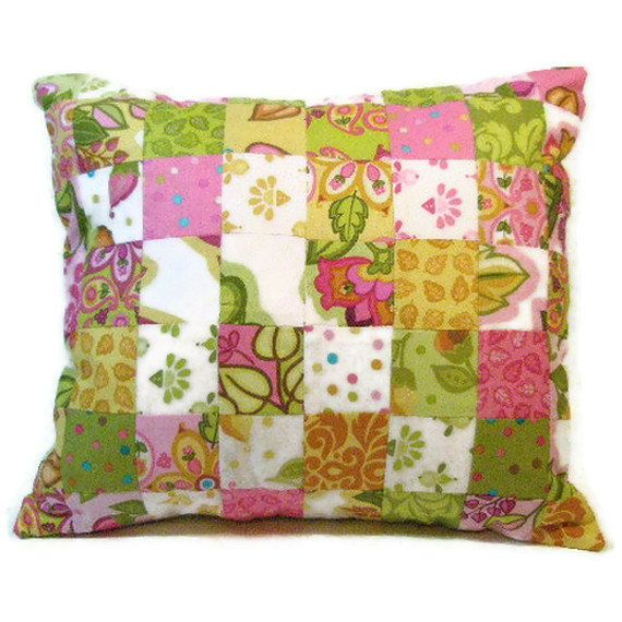 Shabby Chic, Decorative Pillow Cover, Pink, Green, Gold in Fun Patchwork Throw Pillow. $35.00, via Etsy.