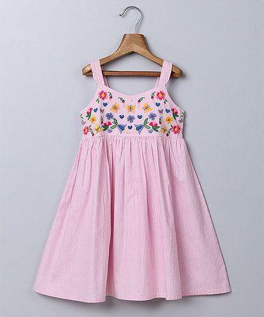 Look at this #zulilyfind! Light Pink Seersucker Embroidered Dress - Infant & Toddler #zulilyfinds