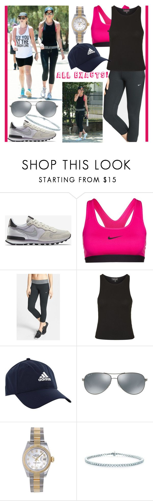 """ELEANOR CALDER INSPIRED OUTFIT <3"" by costina-raftu ❤ liked on Polyvore featuring NIKE, Topshop, adidas Golf, Ray-Ban, Rolex and Tiffany & Co."