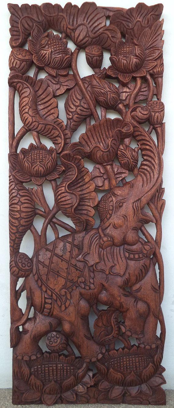 Carved wood panel teak buddha elephant lotus asian by Teakdelight