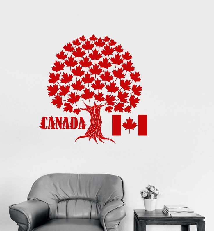 Vinyl decal canada maple tree symbol canadian flag wall stickers mural ig2716