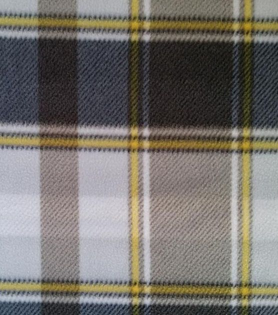 Anti-Pill Fleece Fabric Gray Black Yellow Plaid: