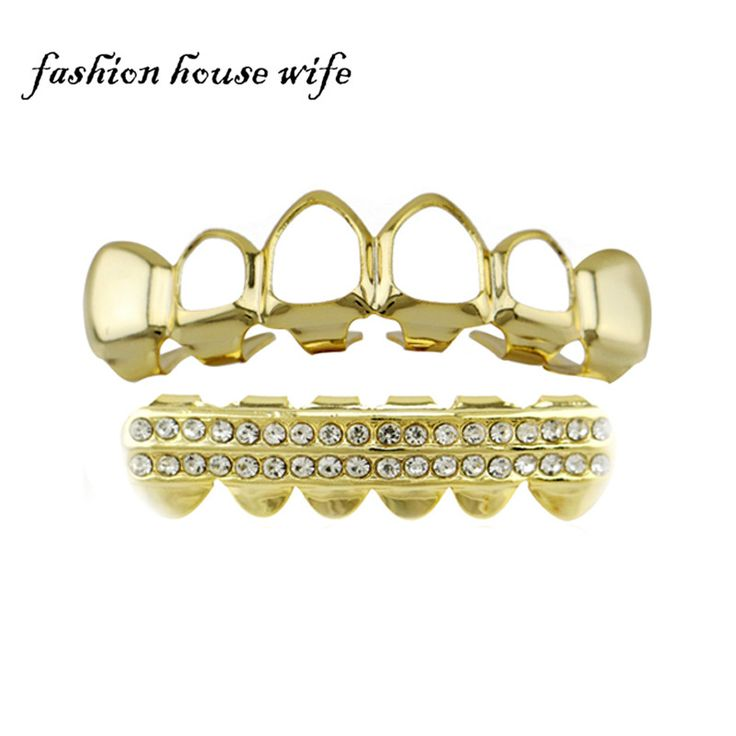 Hot Gold Top Bottom Teeth Grillz Hollow Out  Mouth l Hip Hop Tooth Grillz Dental DIY  Cosplay Vampire Teeth Caps Jewelry NL0119