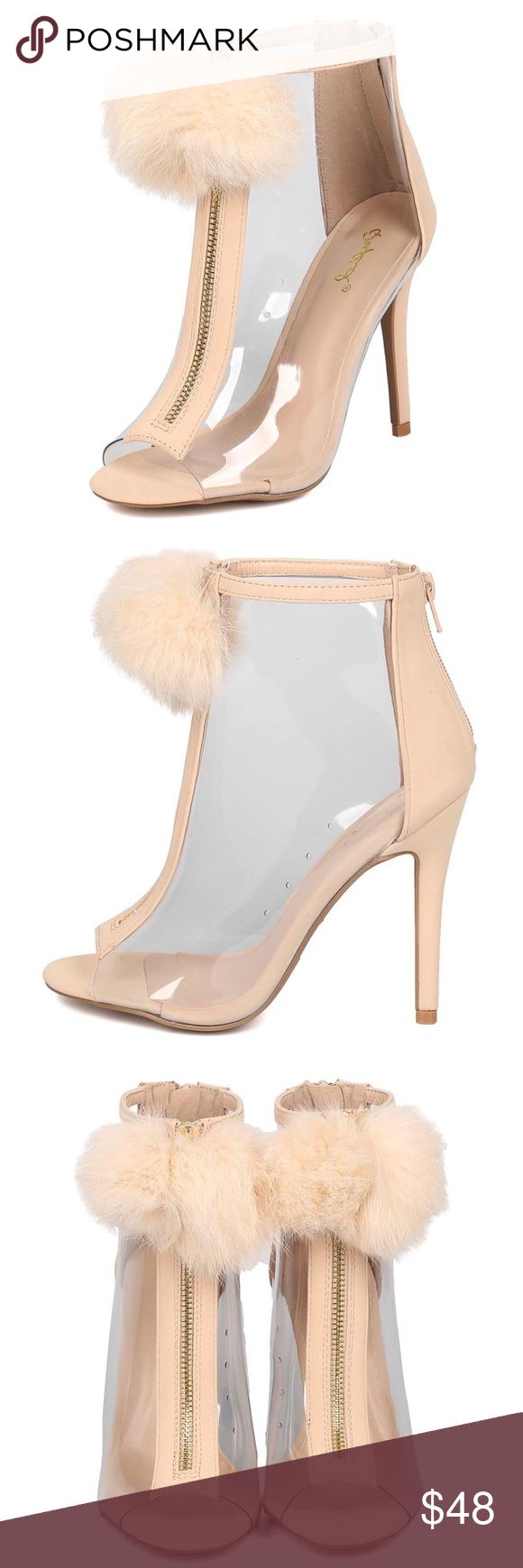 ARA NUDE NUBUCK CLEAR POM POM PEEP TOE HEEL ON DEMAND  There just SO PRETTY! Features a large fuzzy pom pom on front decorative zipper pull. Back zipper closure.  Peep toe, clear sides walls, and stiletto heel. Man made materials.   Approximate heel height 4 1/2 inches. SHIPPING MIGHT TAKE UP TO 3 DAYS DUE TO AVAILABILITY Qupid Shoes Ankle Boots & Booties