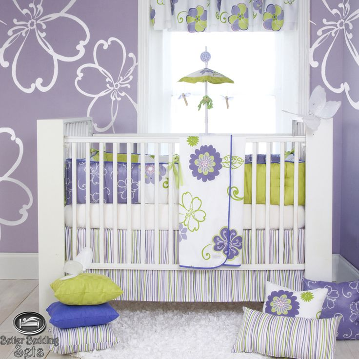 Baby Girl Lavender Purple Green Quilt Crib Nursery Newborn Cot Bedding Bed Set | eBay For the next one?