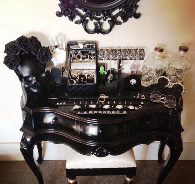 Black Vanity Table Or Jewelry Chest