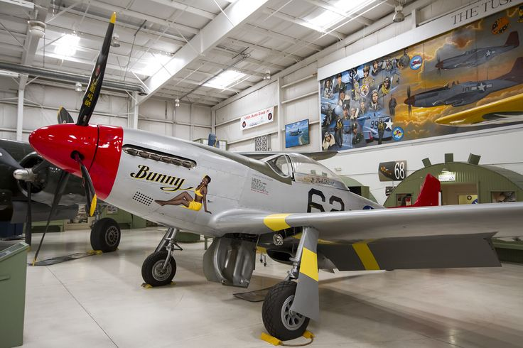 Palm Springs Air Museum. North American P-51D Mustang (N151BP/44-74908) – This aircraft has recently been repainted to reflect that flown by the oldest surviving Tuskegee Airman Lt Bob Friend. Carrying the nose art 'Bunny', the aircraft distinctive red tail has also been signed by no less than 12 surviving Tuskegee pilots including Lt Friend himself.
