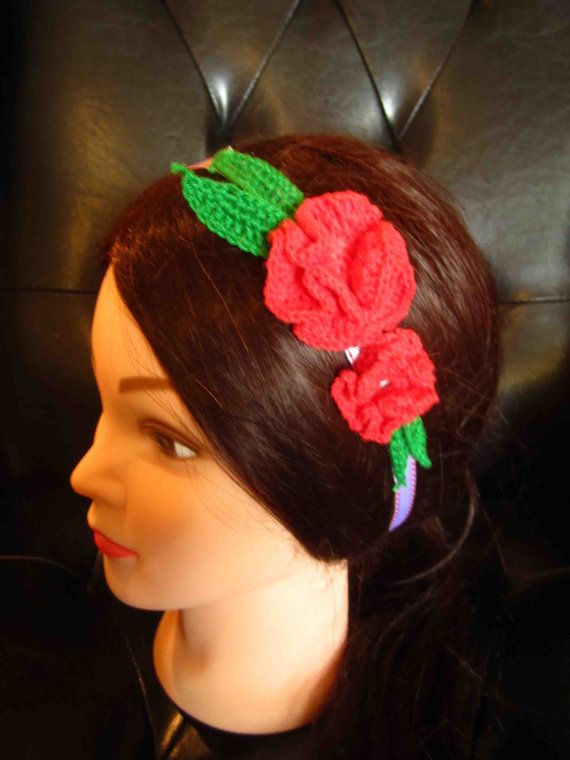 Headband with red crochet flowers and leaves by WhiteBea on Etsy, $10.00
