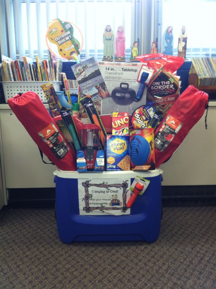 Camping gift basket idea for school silent auction