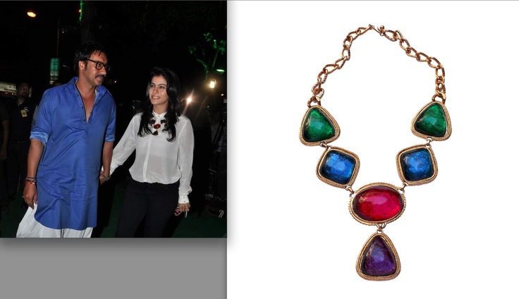 Kajol spotted wearing this Vintage Kenneth Jay Lane colourful necklace from Viange at Sunil Shetty's store launch . It consists of colourful stones in green, blue, red & purple bound in a hard gold tone plating . We love how Kajol pairs it with a simple white sheer shirt and black pants.  Price : Rs 26,700.