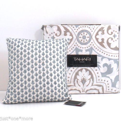 Tahari Queen 4pc Duvet Cover Set Bead Pillow Brown Blue White Floral Medallion   eBay