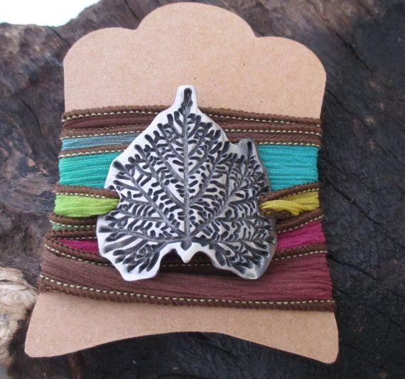 Leaf Textured Silk Wrap Bracelet Steel Precious by KemeJewellery