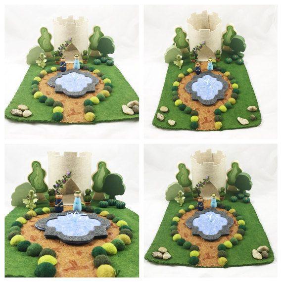 Purple Rose Castle Playscape Play Mat wool felt by MyBigWorld2015