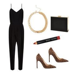 Rehearsal Dinner Keep it simple with a chic black jumpsuit that will be easy to pull out of your bag on arrival. Dress it up with leopard pumps, a matte wine lip and gold-toned accessories.