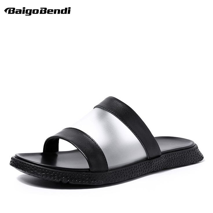 Brand New Man Slippers Outdoor Casual Summer Transparent Leather Slides Trendy Men Beach Shoes