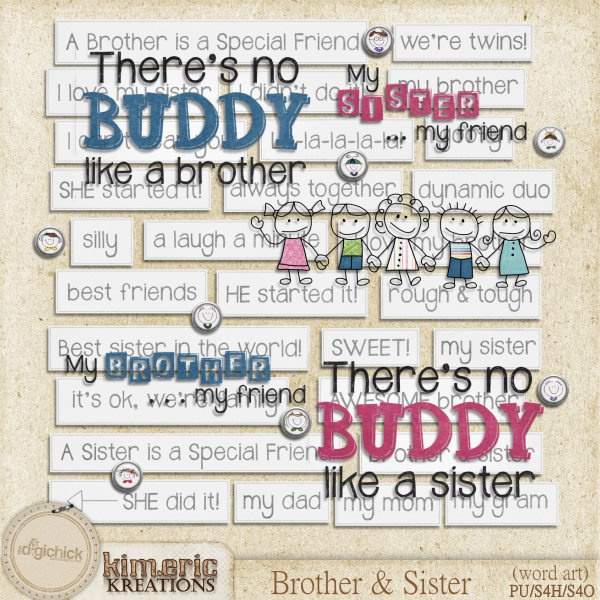 Brother and Sister (word art pack) by Kimeric Kreations ...