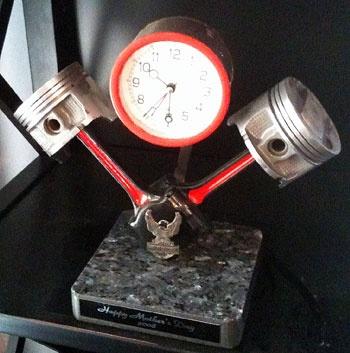 Clock made from Honda pistons