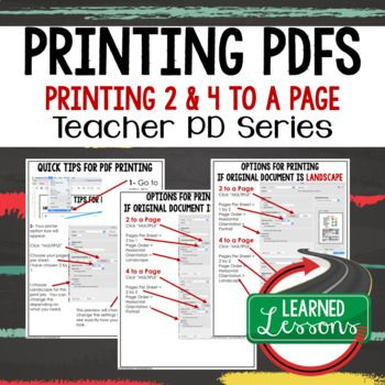 Printing PDFs TpT Buyers and Sellers Tips, Instructions Teacher PD Series ➤Printing PDFs, Printing multiple pages in PDF, Teacher Planning, Professional Development➤ Attached is an instructional packet on answers to the most frequently asked questions about printing multiple pages on a PDF to conserve ink.