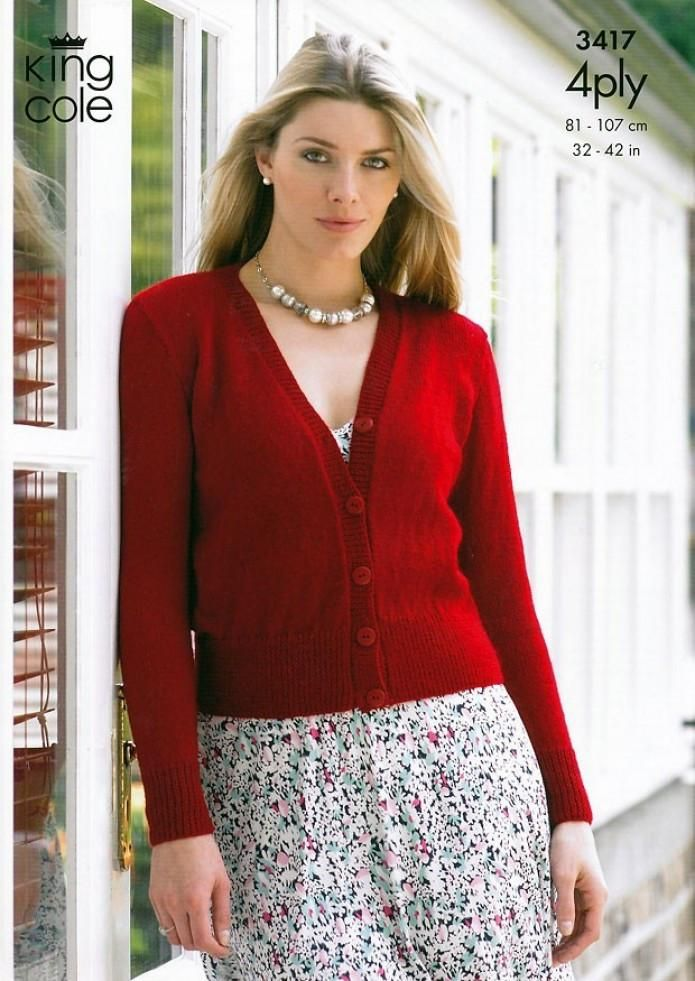 2ece09402 King Cole Ladies Sweater   Cardigan Big Value 4 Ply Knitting Pattern 3 –  The Knitting