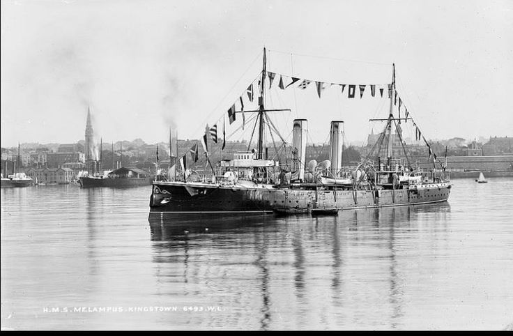 The steam ship HMS Melampus in Dun Laoghaire Harbour