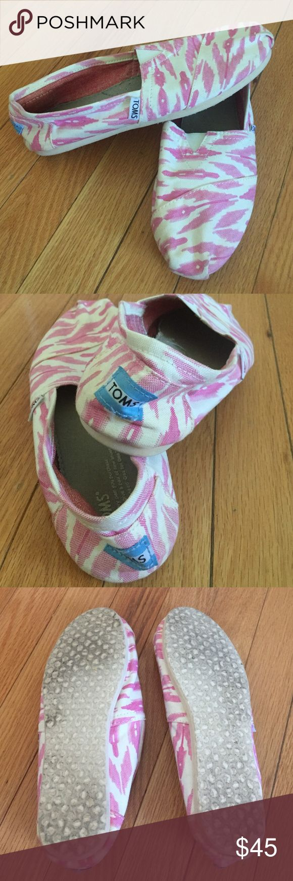 TOMS Pink/OffWhite Pattern Size 8.5 Wore but still in great condition! The material is pretty much perfect no discoloring! I'm pretty sure this was a limited edition design! Shoes Sneakers