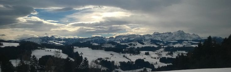 Panoramic view from restaurant Waldegg nearby Teufen AR to mount säntis in the Appenzellerland!