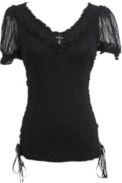 Arcadia Lace Sleeve Gothic Top by Punk Rave | Ladies Gothic