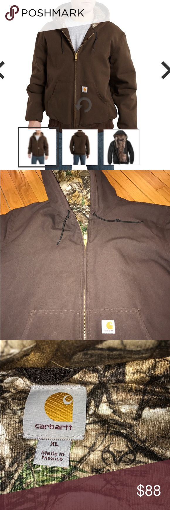 NWOT Carhartt Men's Huntsman Active Jac:Dark Brown NWOT Carhart Huntsman Active Jac: Dark Brown. STYLE #101074. Size XL. Never worn; but no tags. Men's washed duck, flannel lining. 12-ounce, 100% washed duck. Quilted-flannel lining with camouflage Real Tree pattern in body. Attached quilted-flannel lined hood with draw-cord closure. Two inside pockets. Left inside deep pocket. Right inside pocket has zipper. Two large lower-front pockets. Rib-knit cuffs and waistband. Carhartt Jackets…