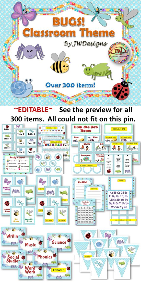 This editable classroom theme bundle is just cute as a bug! It includes everything you will need to have a well organized and coordinated classroom. There are over 130 pages in this bundle and more than 300 individual items. The bug theme includes the following bugs: butterfly, damselfly, bee, dragonfly, ladybug, snail, grasshopper, and spider. The background is sky blue with white daisies. $