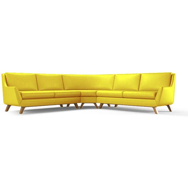 ($9,639) ❤ Liked On Polyvore Featuring Home, Furniture, Sofas, Yellow, Mid  Century Modern Couch, Leather Couch, Yellow Leather Sofa, Mid Century Couch  And ...