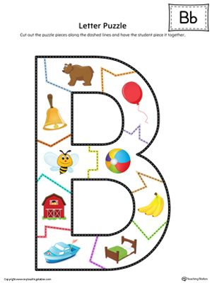 **FREE** Letter B Puzzle in Color Worksheet. The Letter B Puzzle in Color is perfect for helping students practice recognizing the shape of the letter B, and it's beginning sounds, along with developing fine-motor skills. It includes high-quality graphics (300 dpi) that represent the beginning sound of the letter B and easy-to-follow lines for re-assembling the puzzle.